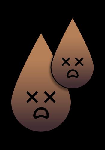 Grafik eines dunkelbraunen bis schwarzen Urins